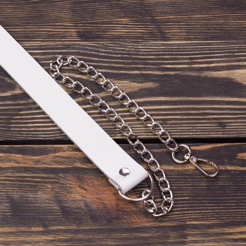 Ручка кожаная 120 см с цепочкой белая лак