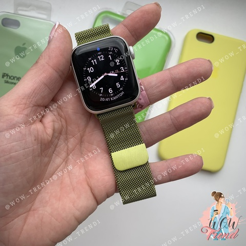 Ремешок Apple watch 42/44mm Milanese Loop /lime/ лайм