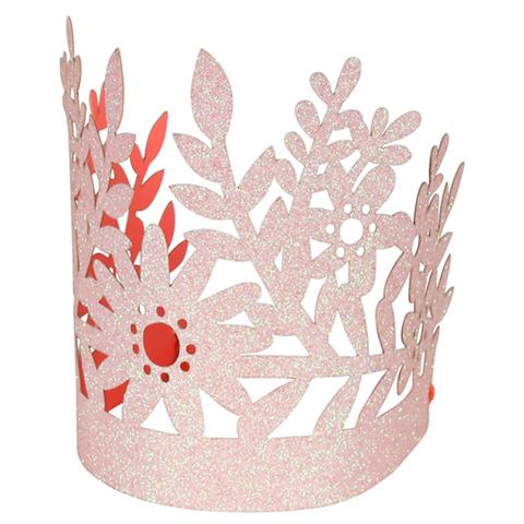 Корона с блестками, розовая