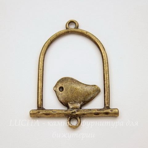 """Коннектор """"Птичка в рамке"""" (1-1) 32х25 мм (цвет - античная бронза)"""
