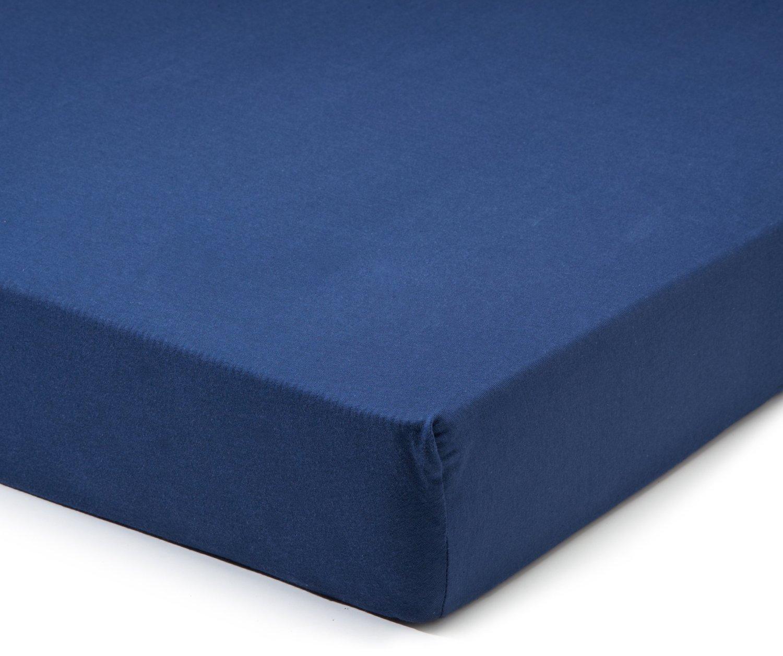 Простыня на резинке 160x200 Сaleffi Tinta Unito перкаль темно-синяя
