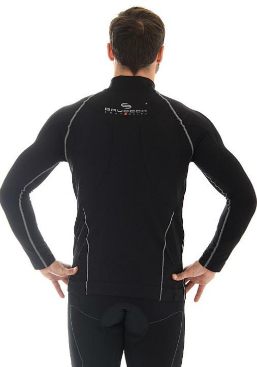 Мужская толстовка для бега Brubeck Windproof Zip Top (LS11060) черная фото