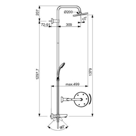 Душевая система Ideal Standard IdealRain ECO B1377AA схема