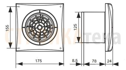 Накладной вентилятор Эра AURA 5C GRAY METAL D125 с обратным клапаном