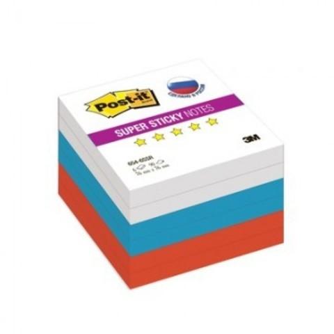 Блок-кубик Post-it Super Sticky 654-6SSR ?Триколор?, 76х76 мм, 6 бл.х90