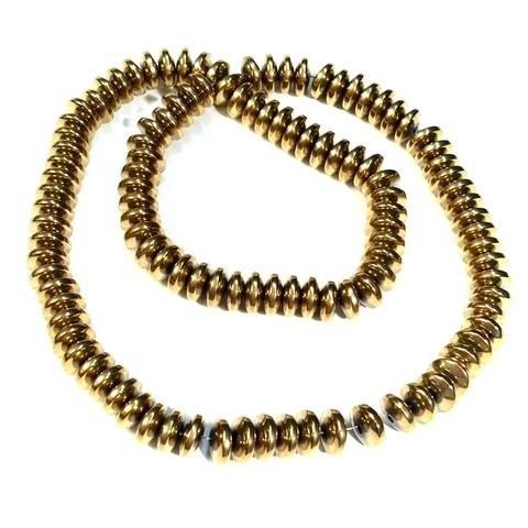 Бусины гематит рондель скругленный 8 мм золотой 1 штука