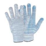 Перчатки трикотажные ПВХ Точка (серый) 10 кл 5ти нитка  (1мешок - 400 пар/ упак 10 пар)