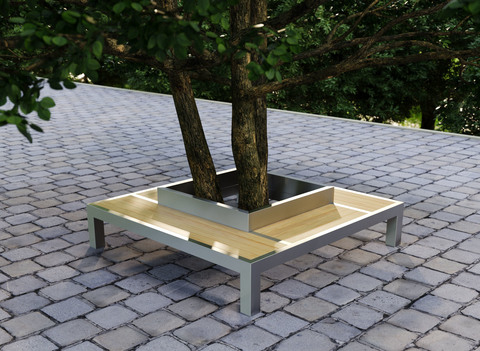 Bench CITY / quadrangular