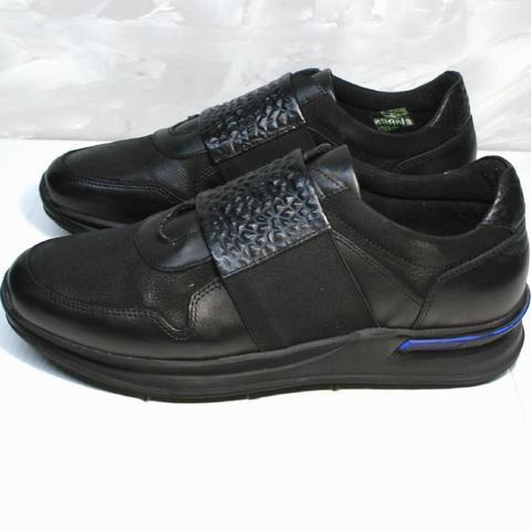 Кроссовки сникерсы мужские. Черные кожаные кроссовки без шнуровки Luciano Bellini All Black