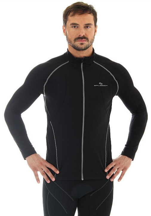 Мужская толстовка для бега Brubeck Windproof Zip Top (LS11060) черная