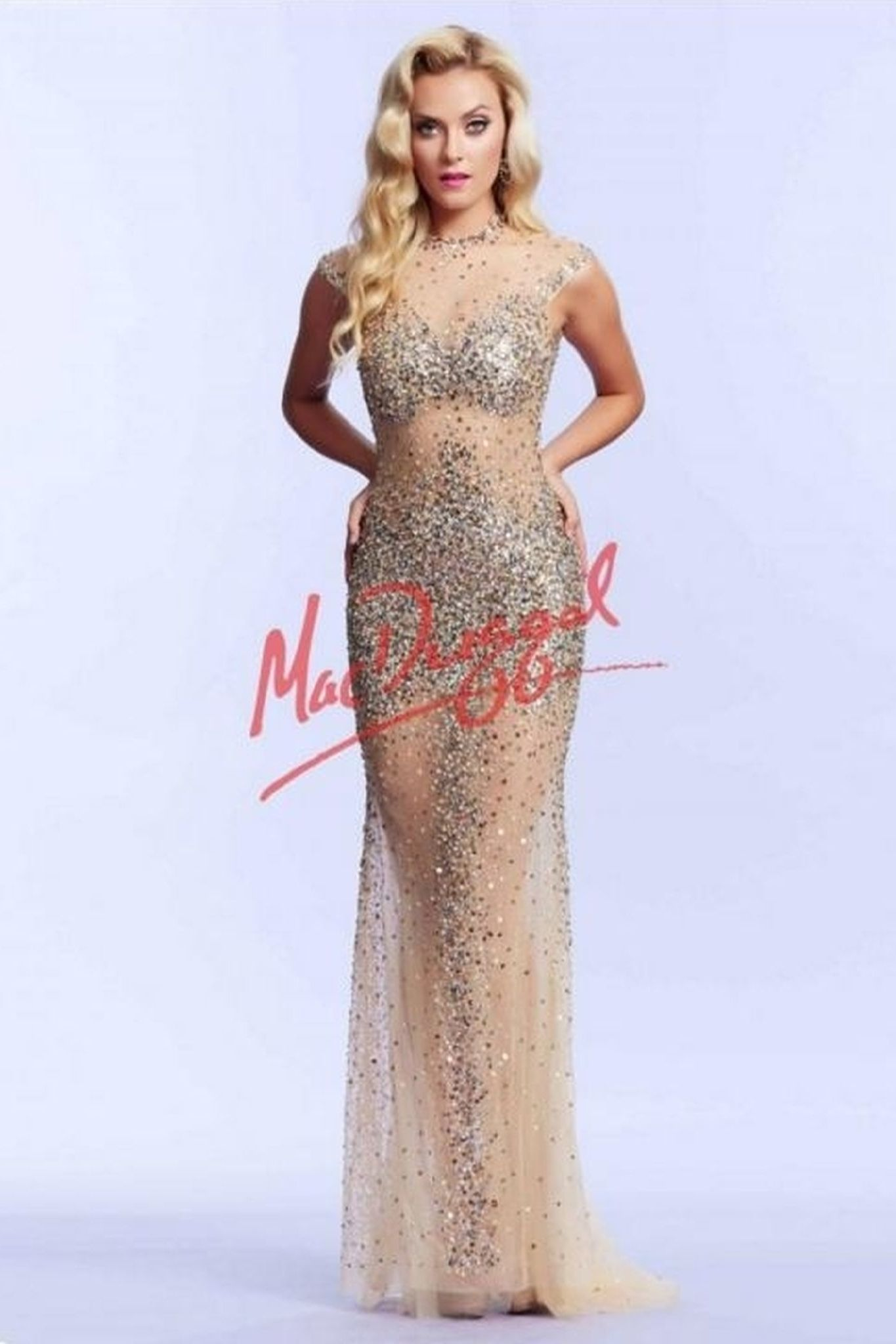 Mac Duggal 612117 Платье  длинное, прозрачное, облегающее, усыпанное камнями