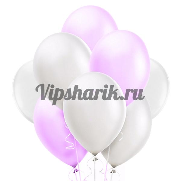 Шары Бело-розовые металлик