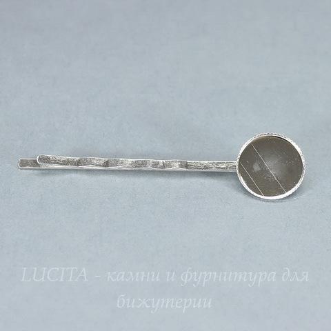 Основа для заколки - невидимки с сеттингом для кабошона 14 мм, 62 мм (цвет - серебро)