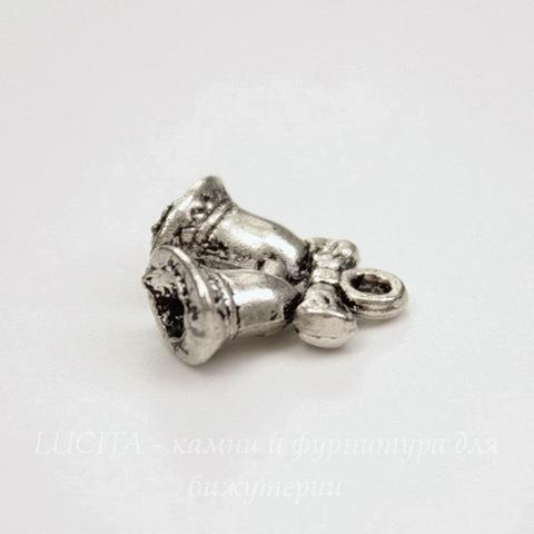 "Подвеска 3D ""Бубенчики"" 16х14 мм (цвет - античное серебро)"