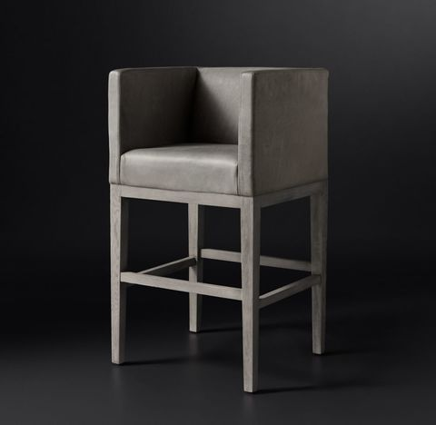 Morgan Shelter Arm Leather Stool