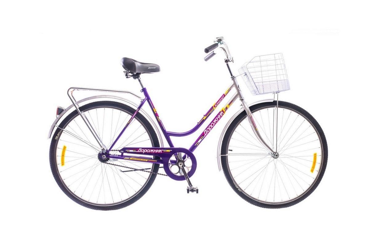 Городской универсальный велосипед для мужчин и женщин Дорожник Комфорт 2015 (фиолетово-серый)