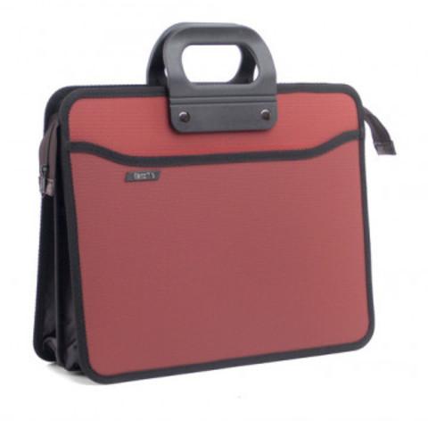 Папка портфель пласт на 4 отд А4+ 390*320, усилен. ручка,терракот.