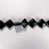 Бусина из агата черного, фигурная, 12x12 мм (квадрат, граненая)