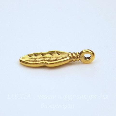 """Подвеска """"Листик"""" 16х6 мм (цвет - античное золото), 5 шт"""