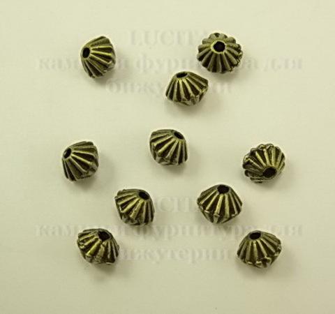 Бусина металлическая - биконус 5х4 мм (цвет - античная бронза), 10 штук