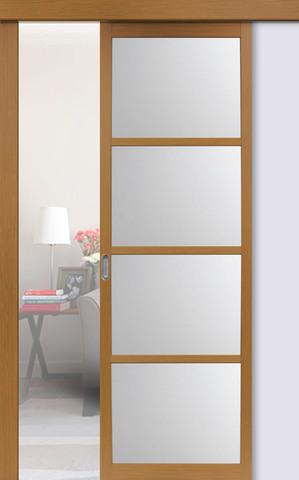 Перегородка межкомнатная Optima Porte 104.2222, стекло матовое, цвет орех классический, остекленная (за 1 кв.м)