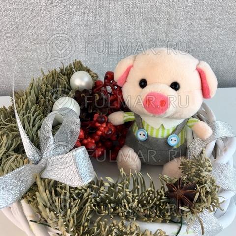 Поросёнок брелок Мистер Хрю символ 2019 года свинья (cалатовый-серый)