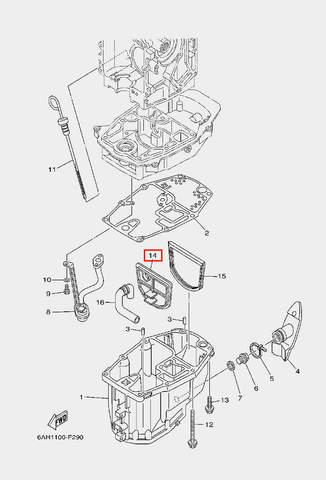 Плита уплотнитель для лодочного мотора F20 Sea-PRO (22-14)