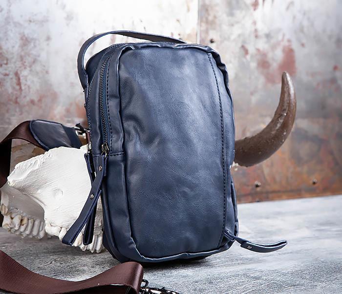 BAG452-3 Мужской рюкзак с одной лямкой из синей кожи фото 03