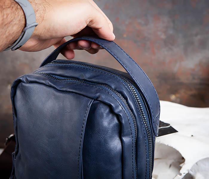 BAG452-3 Мужской рюкзак с одной лямкой из синей кожи фото 04