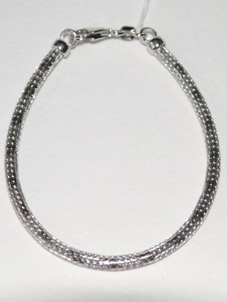 Сетка с алмазной насечкой (серебряный браслет )