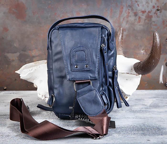 BAG452-3 Мужской рюкзак с одной лямкой из синей кожи фото 05