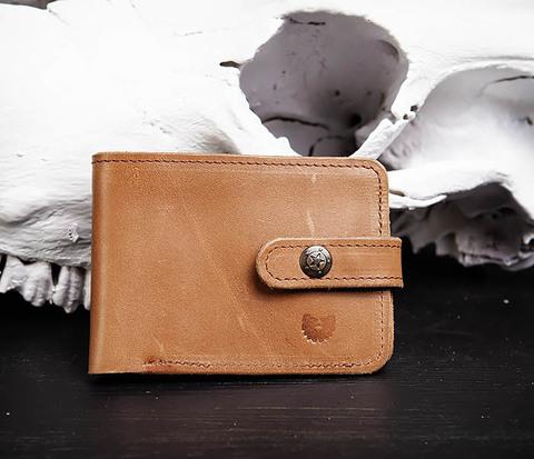 Мужской кожаный кошелек с монетницей на кнопке, «Boroda Design»