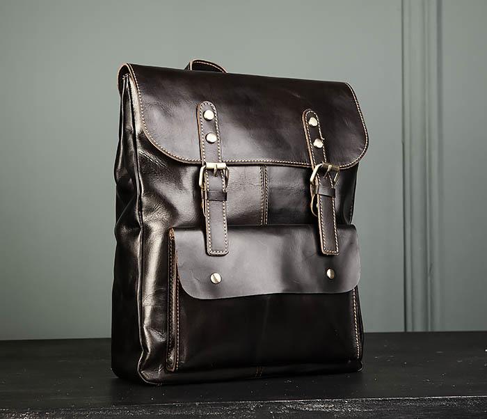 BAG470-2 Кожаный мужской городской рюкзак фото 01