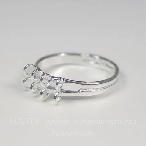 Основа для кольца с петельками (8 петелек) (цвет - серебро)