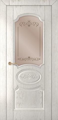 Дверь Румакс Муза ДО, стекло сатинат гравировка, цвет капучино, остекленная