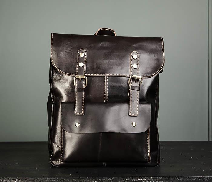 BAG470-2 Кожаный мужской городской рюкзак фото 02