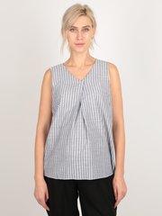 Евромама. Блуза для беременных в полоску со складкой, серо-голубой