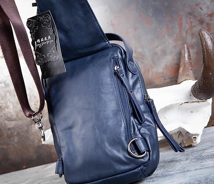 BAG452-3 Мужской рюкзак с одной лямкой из синей кожи фото 07