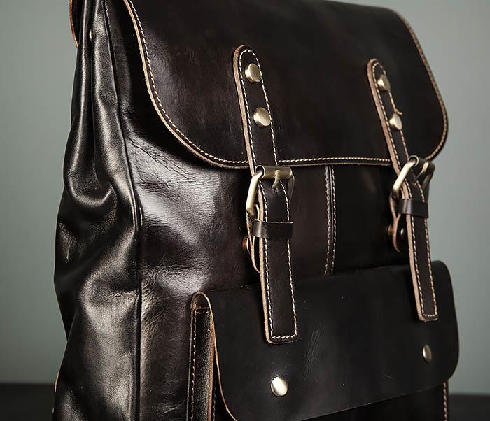 BAG470-2 Кожаный мужской городской рюкзак фото 03