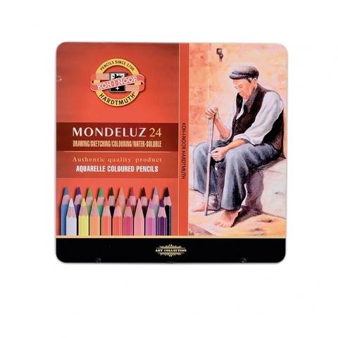 Набор акварельных цветных карандашей Koh-I-Noor 3724 Mondeluz в жестяной упаковке, 24 цвета