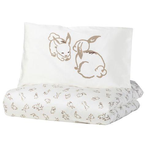 РЁДХАКЕ Пододеяльник, наволочка д/кроватки, орнамент «кролики», белый/бежевый, 110x125/35x55 см
