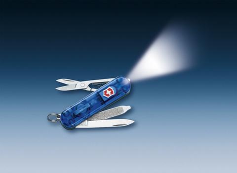 Нож-брелок Victorinox Classic SwissLite, 58 мм, 7 функций, полупрозрачный синий