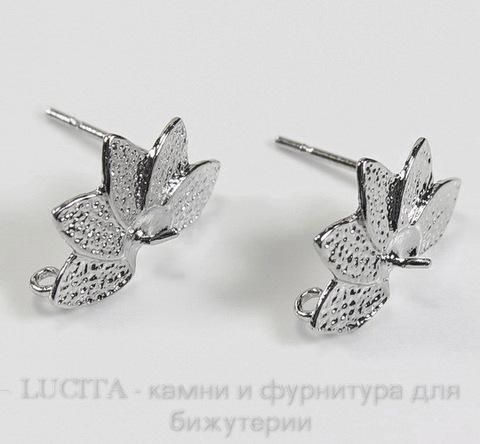 """Пуссеты - гвоздики """"5 лепестков"""" 15х10 мм (цвет - античное серебро)(без заглушек)"""
