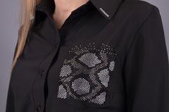 Андреа. Классическая рубашка со стразами. Черный