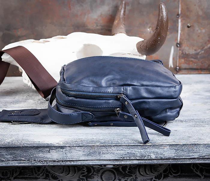 BAG452-3 Мужской рюкзак с одной лямкой из синей кожи фото 08