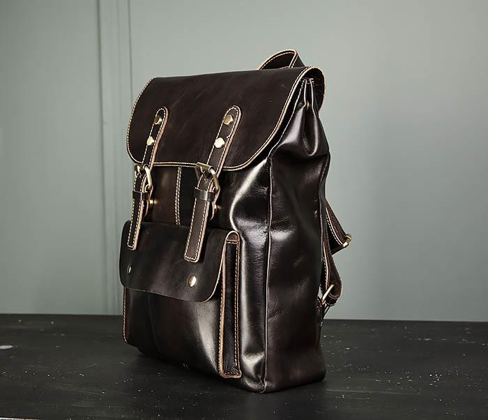 BAG470-2 Кожаный мужской городской рюкзак фото 04