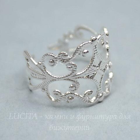 Основа для кольца - филигрань (цвет - серебро)