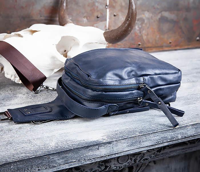 BAG452-3 Мужской рюкзак с одной лямкой из синей кожи фото 09