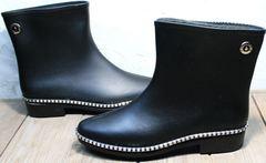 Модельные резиновые сапоги низкие женские Hello Rain Story 1019 Black.