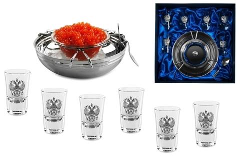 Подарочный набор для водки «Русское застолье», с икорницей